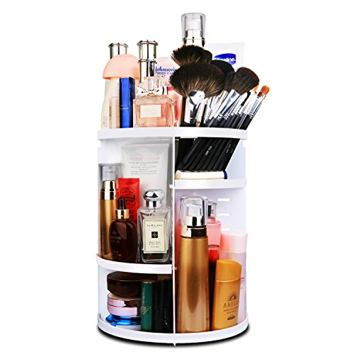 MOFIR Makeup Organizer 360 Degree Rotating, Adjustable Multi-Function Cosmetics Storage Box, Small Size Extra Large Capacity, Fits Different Sizes of Cosmetics