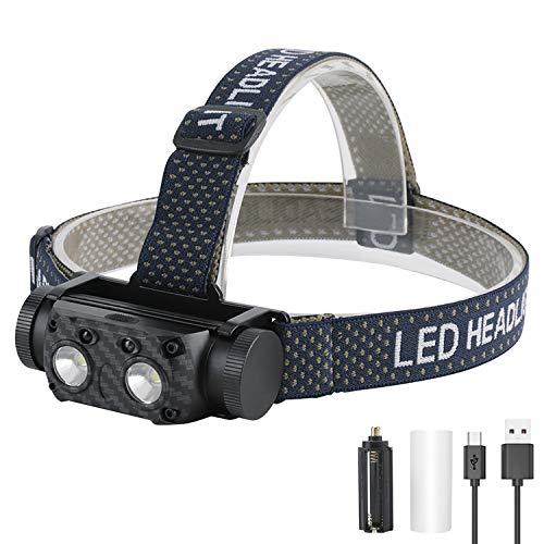 BESTSUN Torcia Frontale LED Ricaricabile 2000 lumens pila Luce Frontale Potente lampes frontales con Doppio proiettore a sensore di Movimento a LED XML-L2 Rimovibile per la Pesca in Esecuzione