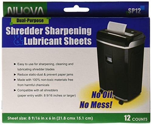 Nuova SP12 Shredder Sharpening & Lubricant Sheets, 12 Count
