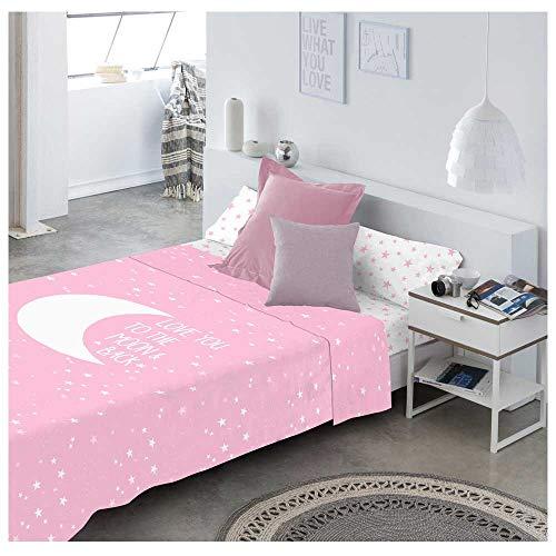 COTTON ARTean Juego de sabanas Infantil/Juvenil Moon Pink Cama de 90 x 190/200. 100% ALGODÓN.