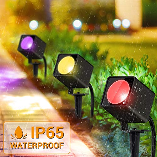 LED Landscape Lights Mustwin 10W RGB Color Changing Waterproof Landscape Lighting 20 Colors Outdoor Spotlight with Remote Control for Holiday Garden Tree Yard 16.4ft Cords with Power Adapter (4 Packs)