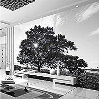 Bosakp カスタム写真壁紙モダンシンプルな黒と白の木の風景壁壁画リビングルームテレビソファの背景3D 360X250Cm