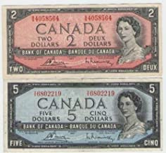 Lot of Vintage Canadian Currency - $1, 2 & $5 Bills from 1954 - Fine to Extra Fine Condition