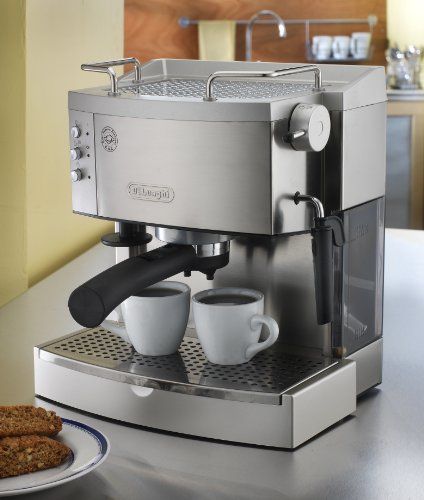 the DeLonghi EC702 and two cups of coffee