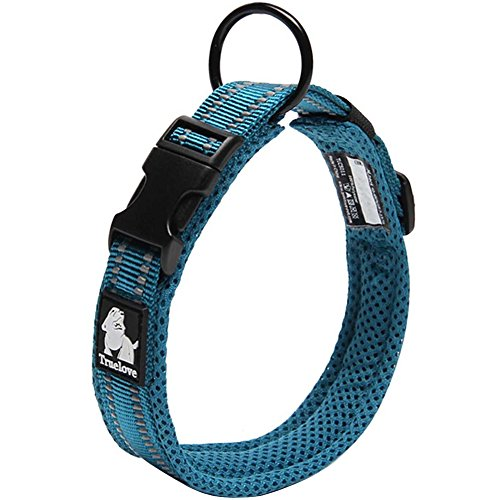 Creation Core Reflective Dog Collar with Ring Breathable Mesh Soft Padded Adjustable Nylon Pet Collar 0.8
