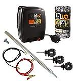 Ellofence - Juego básico completo de vallado para pastos con electrificador de vallado, cordón de vallado, postes y aislantes, extremadamente silencioso, de 230V