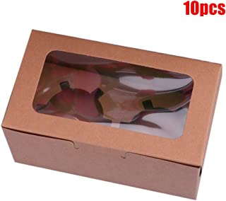 10pcs/set Cupcake Boxes With Window And Inserts, Barkey Gift Boxes, 2/4/6 Holes To Choose, Paperboard, 2 Colors