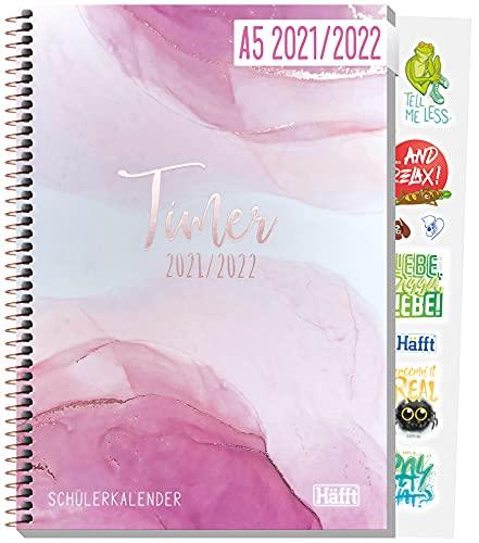 Häfft College-Timer A5 2021/2022 [Pink Glamour] Schülerkalender/Hausaufgabenheft, Schüler-Tagebuch, Schülerplaner inkl. Fun Facts, Sprüche, Sticker u.v.m.   nachhaltig & klimaneutral
