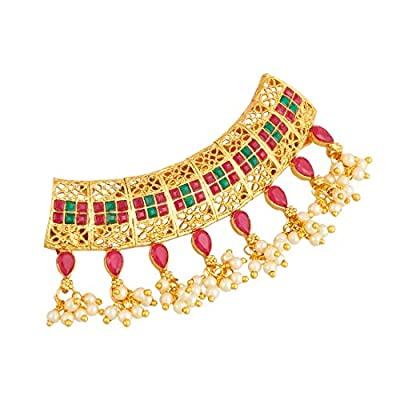 Apara Traditional Gold Plated Hair Clip Accessories with Pearl Drop Jewellery for Women/Girls