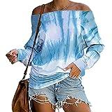 Elesoon Blusa suelta de manga larga para mujer, con hombros descubiertos y teñido degradado, con estampado gráfico y estampado de colores, A-azul, 44