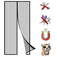マグネット式網戸、 蚊や虫など室内への侵入を防ぐドア 自動磁気制御 簡易網戸、設置簡単、マンションベランダ引き戸に最適 - ブラック 180x270cm