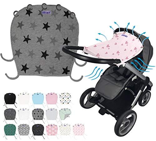 Original DOOKY ** Style UV+ 40 ** Universal Sonnenschutz/Sonnensegel/Sonnenblende für Kinderwagen und Babyschale (Light Grey Crowns)