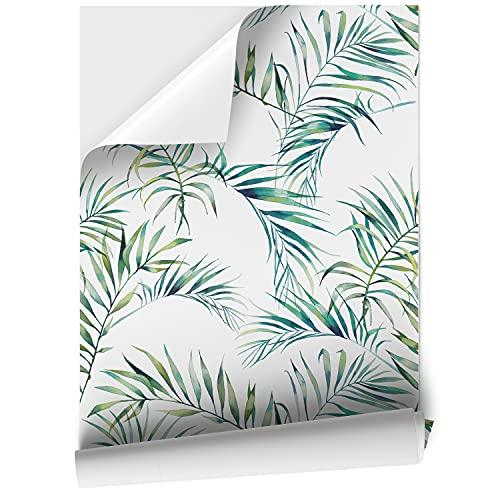 Vinilo Adhesivo para Muebles y Pared, 45 x 200 cm, Hojas Tropicales, Color Verde, Fondo Blanco, VNL-075