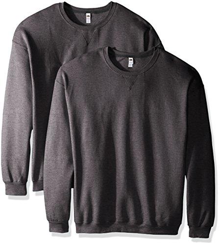 Fruit of the Loom Men's Crew Sweatshirt (2 Pack), Charcoal Heather, X-Large
