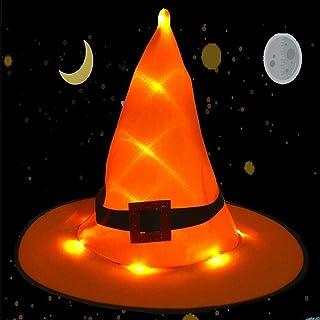 kaimus Halloween Hexenhut mit LED Licht Dekor Party Kostüm Cosplay Requisiten Partytüten