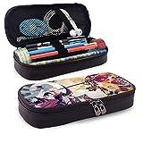 Yuanmeiju Hatsune Miku Kagamine Rin Len Leather Estuche Big Capacity with Zipper Large Storage Pen Pencil Pouch Stationery Organizer Portable Bag Holder