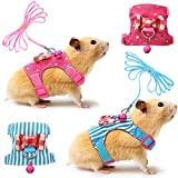 SATINIOR 2 Pieces Small Pet Harness with Bowknot and Bell Decor, No Pull Comfort Padded Vest Guinea Pig Harness and Leash Set for Ferret, Rats, Iguana, Hamster, Bearded Dragon