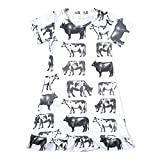 N+A Toddler Baby Girls Cow Printed Causal Short Sleeve Dress Farm Style 3T White