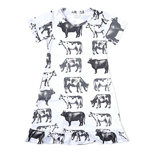 N+A Toddler Baby Girls Cow Printed Causal Short Sleeve Dress Farm Style 6Y White