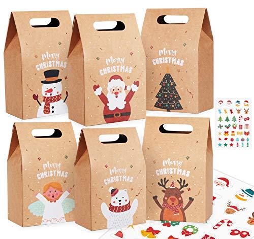 Sweelov 24 STK. Weihnachten Geschenktüten mit Griff Kraftpapier Geschenkboxen mit Weihnachtsaufkleber, Braun Papiertüten mit Weihnachtsaufkleber für DIY Beutel(6 Stile)