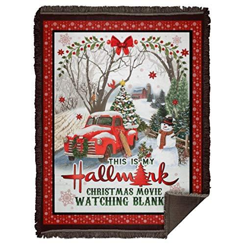 Billiontha This is My Hall-Mark Christmas Movie Watching Fleece Blanket Snowman Red Trucker Merry Christmas Blanket