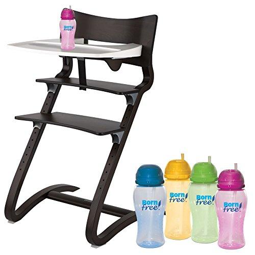 Leander Hochstuhl Walnuss mit Sicherheitsbügel, ansteckbarem Tisch und BornFree-Trinkbecher