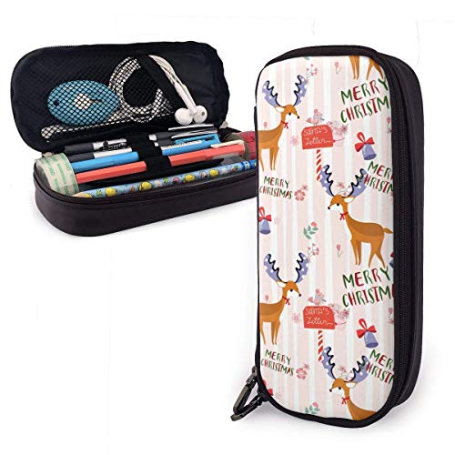 Lawenp Alta capacidad Christmas Bell Elk Themed Pattern Printed Mini School Pencil Case Holder Pouch Office Pen Box Zipper Bag Set Pu Leather Zip for Girls Boy Men Women Accessories