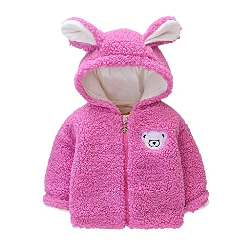 Deloito Kleinkind Babykleidung Kunstpelz Outwear Kinder Mädchen Winter Warme Winddichter Mantel Karikatur Bär Schwein Kapuzenjacke Langarm Plüsch Pelzjacke (Pink,90/12-18 M)