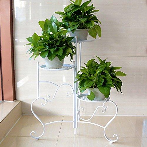 Cadre de fleur en fer Balcon Ensemble de fleurs de plancher Ensemble intérieur en pot à fleurs (60 * 76cm) (Couleur : Blanc)