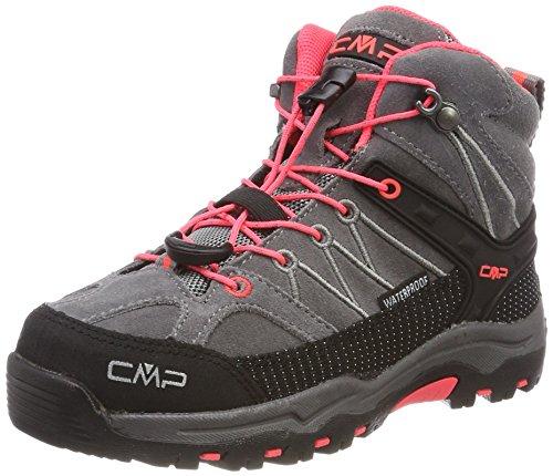 CMP Rigel Mid Wp Unisex-Kinder Trekking-& Wanderschuhe, Grau (Grey-Red Fluo), 36 EU
