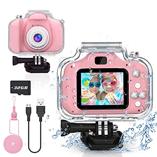 Gifts for 6 7 8 9 10 Year Old Girls Yoophane Kids Waterproof Camera Christmas Birthday Gifts Toddler Action Camera Toys…