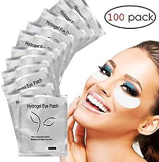 Adecco LLC Under Eye Gel Pads, 100 Pairs Set Eyelash Extension Pads, Lint Free DIY False Eyelash Lash Extension Makeup Eye Gel Patches
