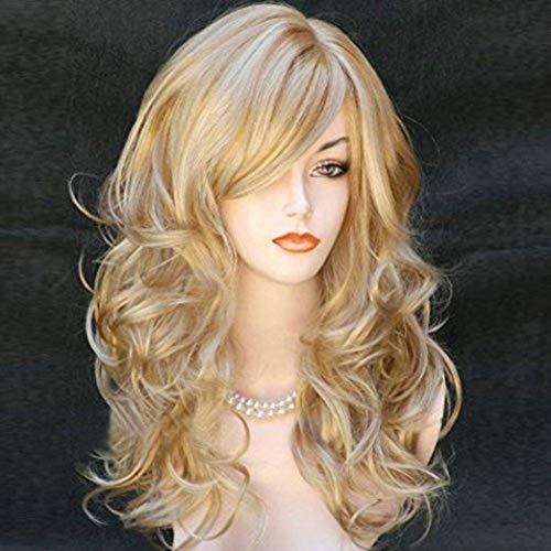 Fleurapance - Peluca para mujer, pelo largo y ondulado, alta calidad, resistente al calor, pelo rubio dorado, sintético, imitación al cabello humano