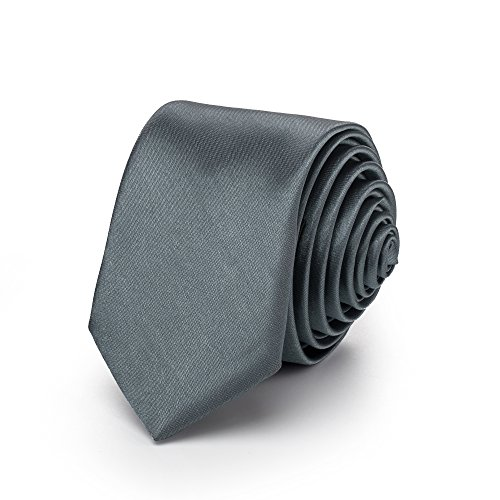 Rusty Bob - Krawatte schmal/dünn 3cm-5cm für Herren [auch für Kinder/Jungen] (uni,nicht gestreift) aus Polyester glänzt wie Seide - Grau