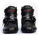 CYCPACK Biker Boots Uomo Nero - Stivali da Moto Impermeabili, Stivali da Motocross con Muro Protettori Guscio Duro, Stivali da Turismo in Velcro in Pelle,EU42(UK7.5)