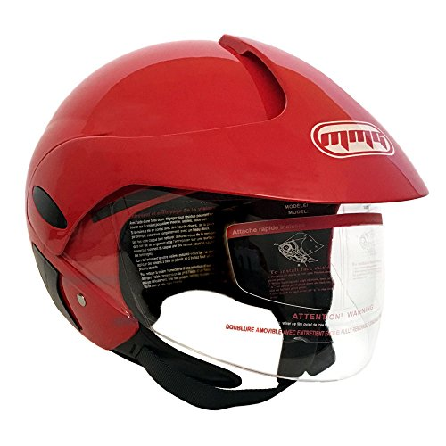 MMG 203 Motorcycle Scooter Street Open Face Helmet DOT, Flip Up Shield, Glossy Red, Small