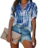 Mayntop Camiseta de manga corta para mujer con teñido anudado, holgada, de gran tamaño, A-azul, 40