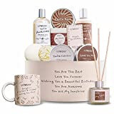 Birthday Gift Basket, Bath and Spa Gift Set for Women, Luxury Birthday Spa Gift Box, Vit E & Shea, Rich Bath Essentials in Coconut Scent, Diffuser, Soy Candle, Handmade Soap, Happy Birthday Mug & More