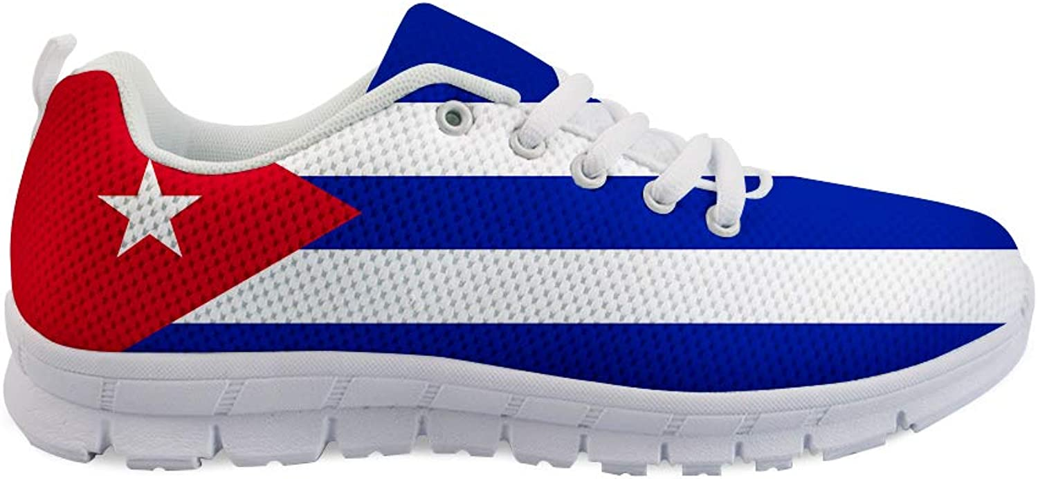 Owaheson Lace-up Sneaker Training shoes Mens Womens Cuba Flag