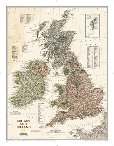 National Geographic: Mapa ejecutivo de la pared de Gran Bretaña e Irlanda, estilo antiguo, impresión de calidad artística
