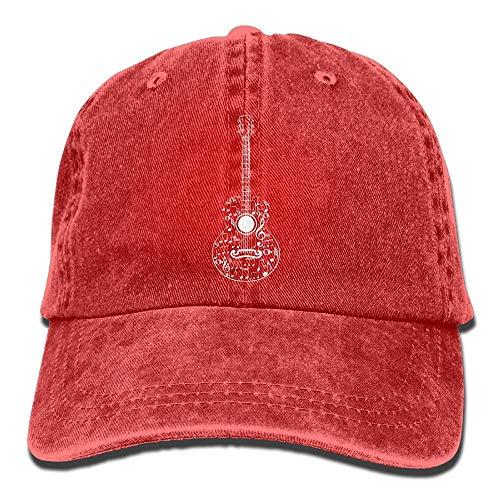 Gitaar en muziek noten-1 vintage jeans baseballcap voor mannen en vrouwen