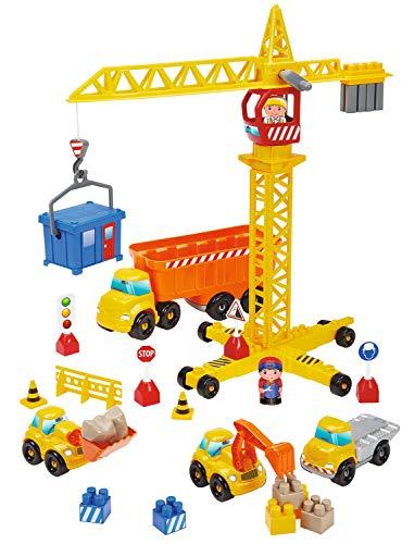 Ecoiffier- Travaux publics + grue-Abrick-2999-Jeu de Construction pour Enfant-+ 36 Mois-Jouets Fabriqué en France, 2999, Jaune, Orange, Bleu