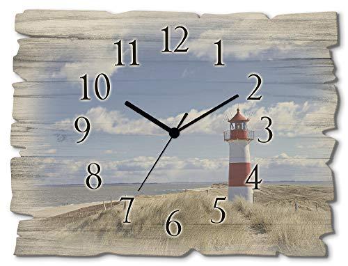 Artland Wanduhr ohne Tickgeräusche aus Holz Funkuhr 40x30 cm Rechteckig Lautlos Strand Meer Leuchtturm Nordsee Sylt Maritim T9ML