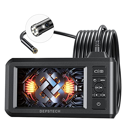 "DEPSTECH Dual Lens Industrie Endoskopkamera 4,3\"" LCD-Bildschirm 1080P Digitales Endoskop mit 7,9 mm Lens IP67 wasserdicht Inspektionskamera, 7 Einstellbare LEDs, 5m halbstarres Kabel, 32GB Karte"