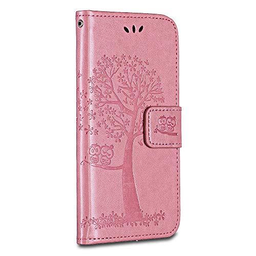 BRAVODAY Galaxy S5 Mini Hülle, Handyhülle Leder Hülle Tasche Flip Schmetterling Ledertasche Lederhülle Klapphülle für Galaxy S5 Mini, Rosa