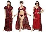 TUCUTE Women's Satin Nightwear Set of 4 Pcs Nighty, Wrap Gown, Bra & Thong Smart Combo. (Maroon-2651)
