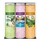 Nortembio Sales de Epsom Pack 3 x 430 g. Fragancias de Vainilla, Rosas, Limón. Hidratadas con...