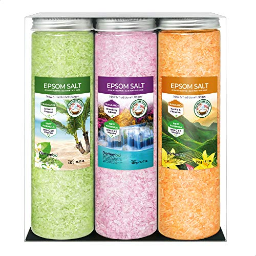 Nortembio Epsom Salz Set 3 x 430 g. Vanille, Rosen und Zitronenaroma. Hydratisiert mit Vitamin C und E. Badesalz, Aromatherapie, Floatingtherapie. E-Book Inklusiv.