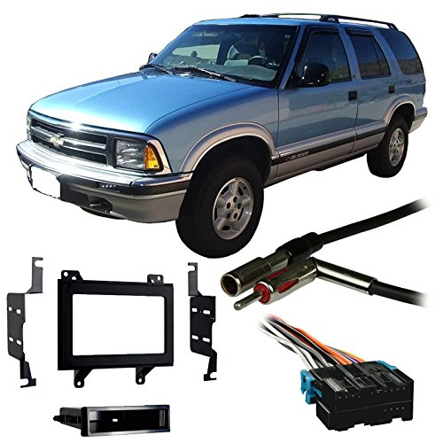 Compatible with Chevy S 10 Blazer 1995 1996 1997 Double DIN Stereo Harness Radio Install Dash Kit Package