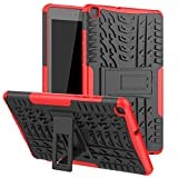Maomi for Samsung Galaxy Tab A 8.0 Case 2019 (Without S Pen Model SM-T290/T295),[Kickstand Feature],Shock-Absorption/High Impact Resistant Heavy Duty Armor Defender Cover (Red)